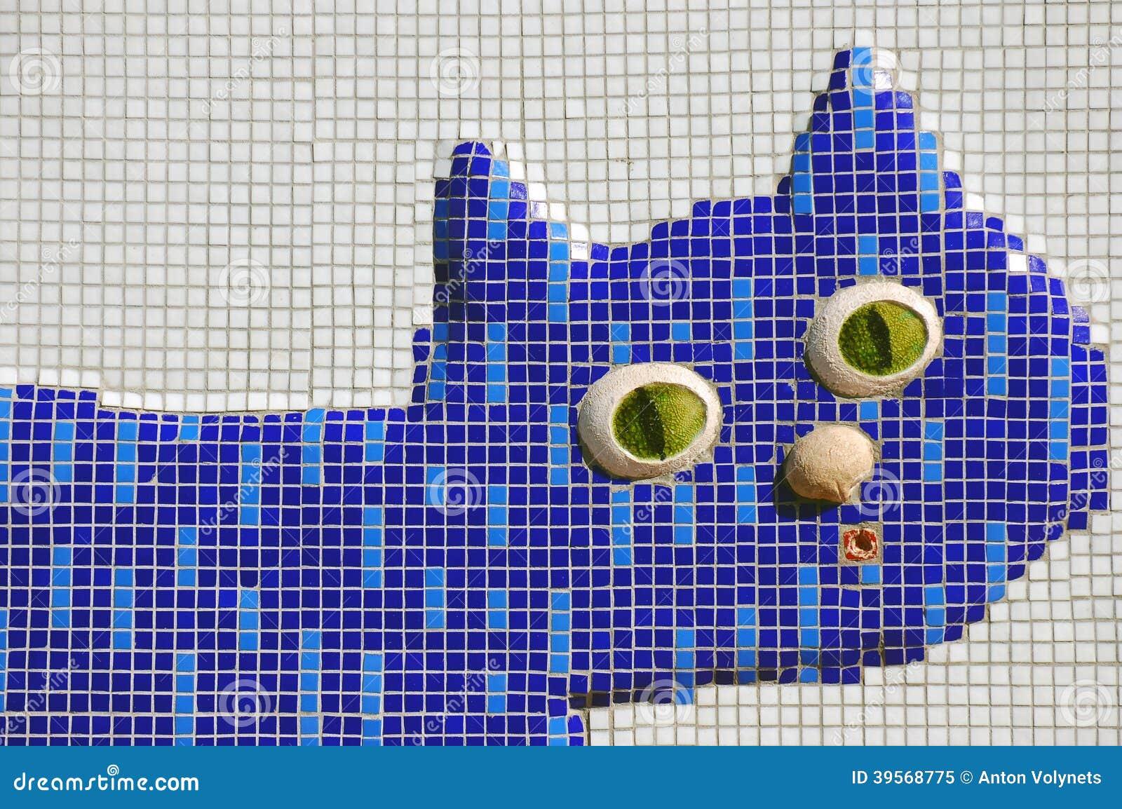 Teal Blue Mosaic Cat Chenille