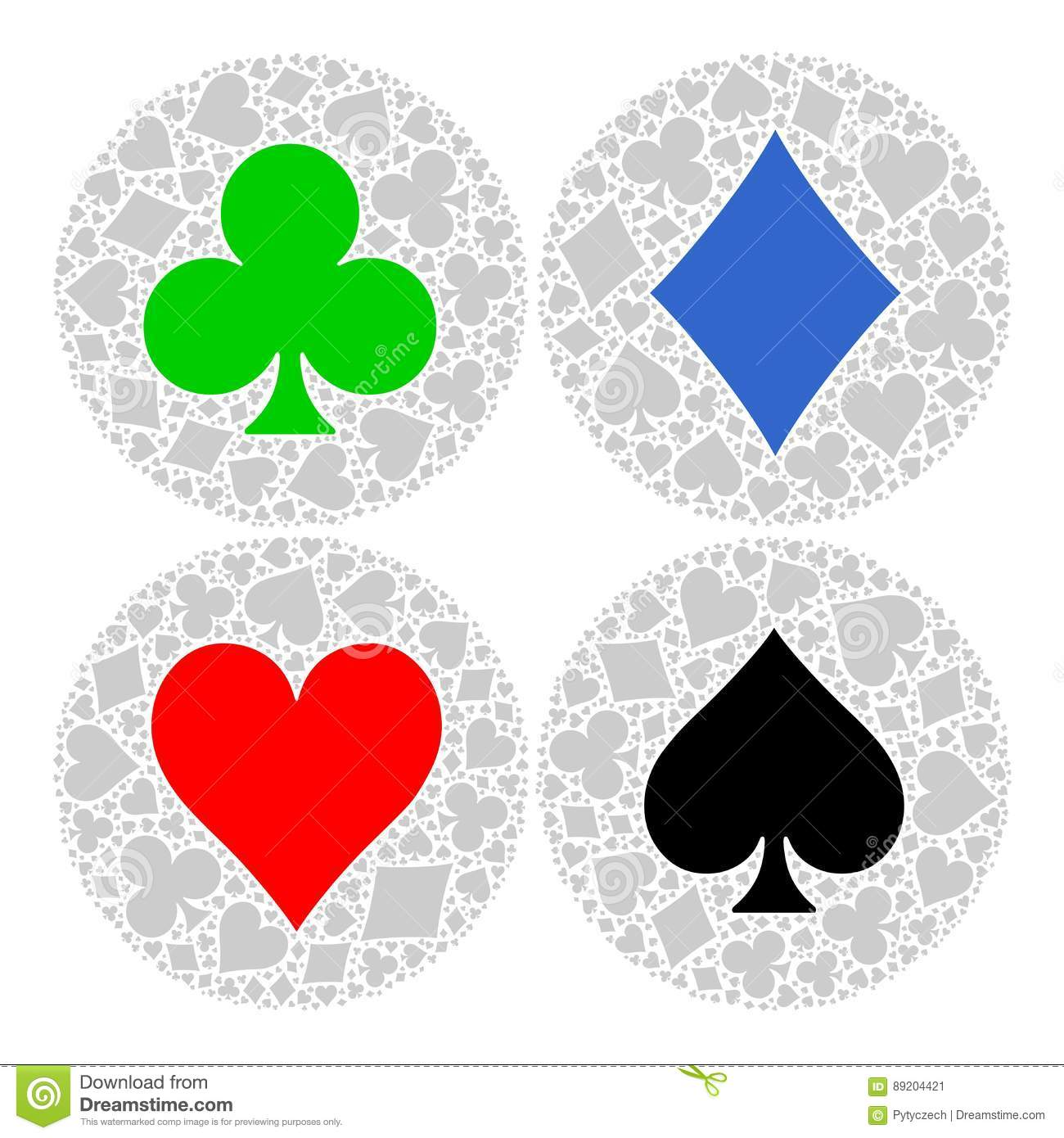 Mosaic circle of poker playing card suit with main symbol in the mosaic circle of poker playing card suit with main symbol in the middle red heart blue diamond black spade and green buycottarizona