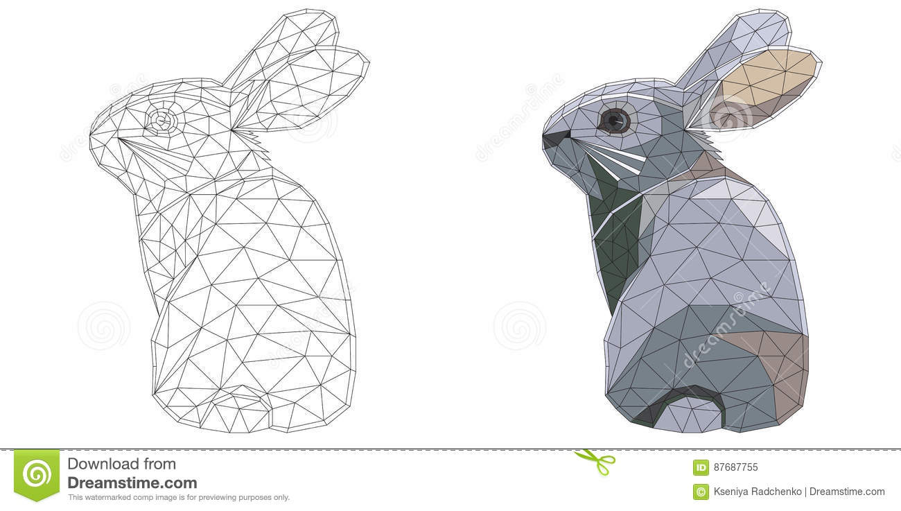 Mosaic Easter Bunny For Coloring