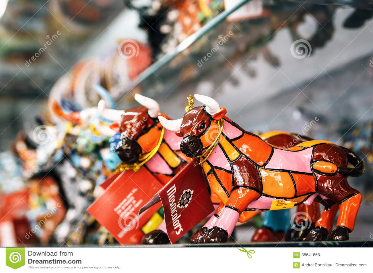 mosaic figurine of bull in gaudi style spanish traditional gifts in the souvenir shop. Black Bedroom Furniture Sets. Home Design Ideas
