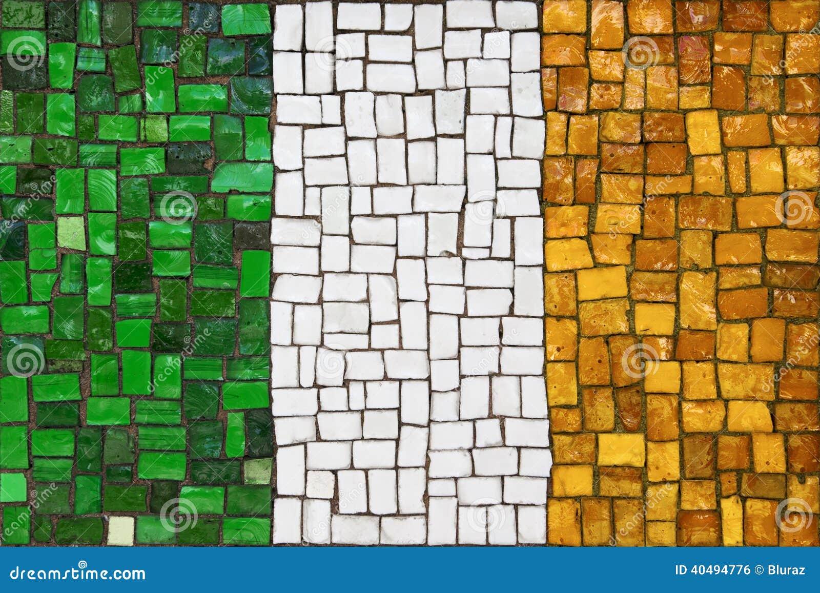 mosaic flag of irish stock photo image 40494776