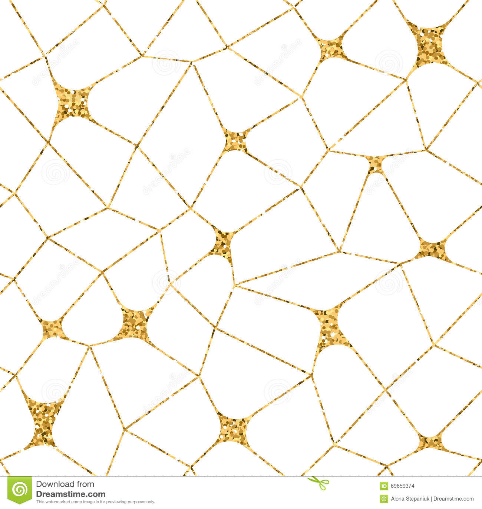 Mosaic Geometric Seamless Pattern 3d Gold White 2 Stock