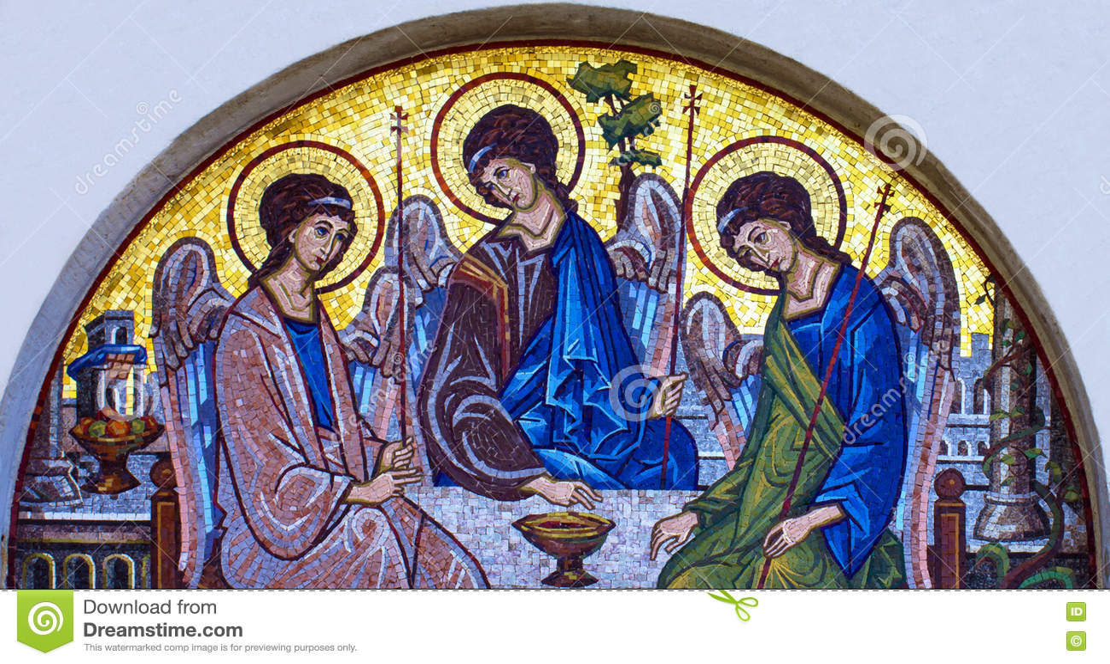 Mosaic icon of Holy Trinity in Orthodox Church, Budva, Montenegro