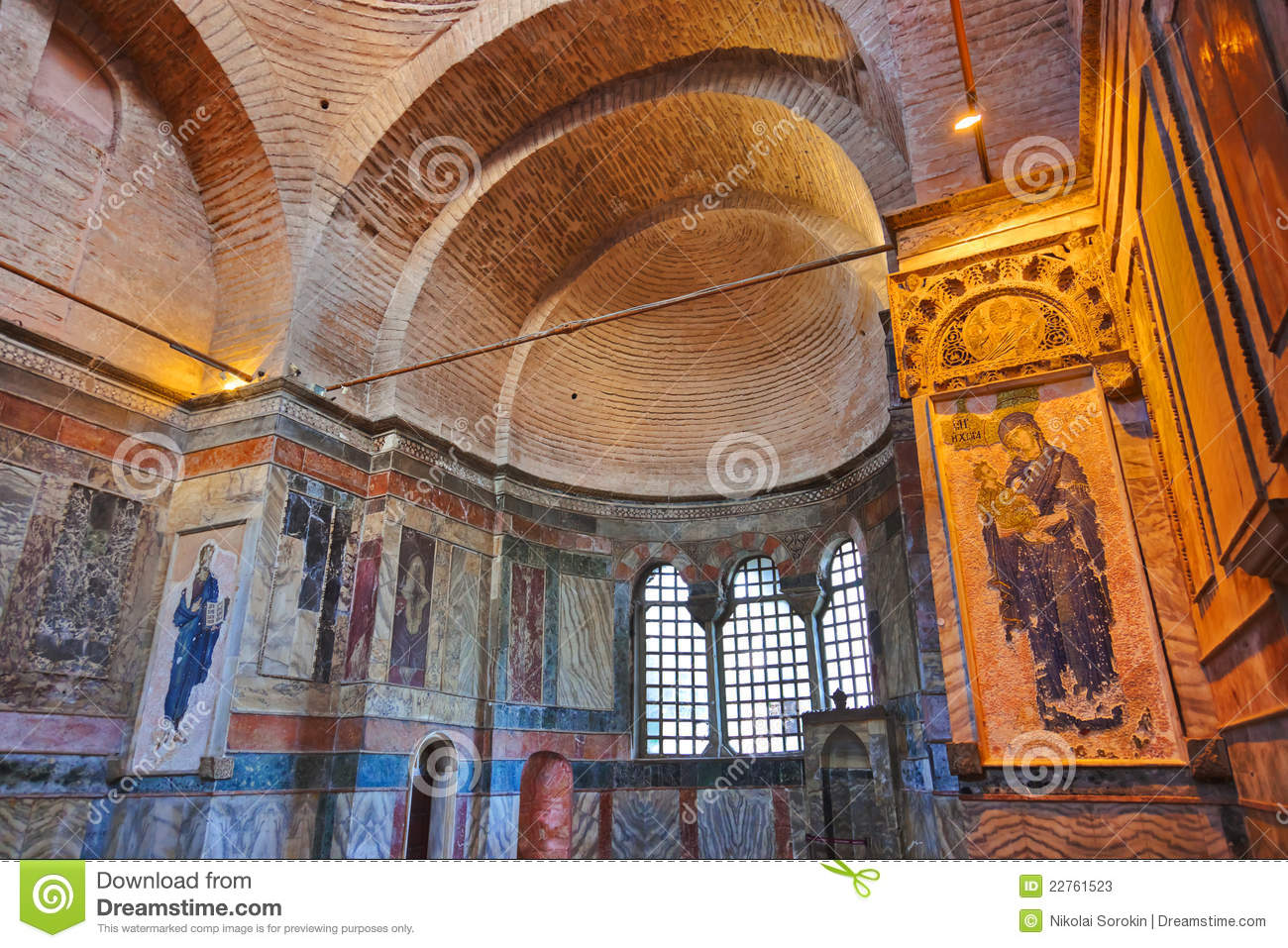 Mosaic Interior In Chora Church At Istanbul Turkey Stock ...
