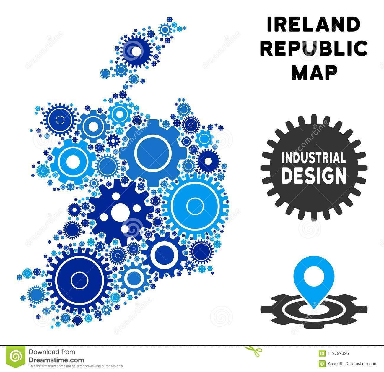 Mosaic Ireland Republic Map Of Gears Stock Vector - Illustration of on natural resources found in ireland, france map great britain ireland, map s and n ireland, tourism ireland,