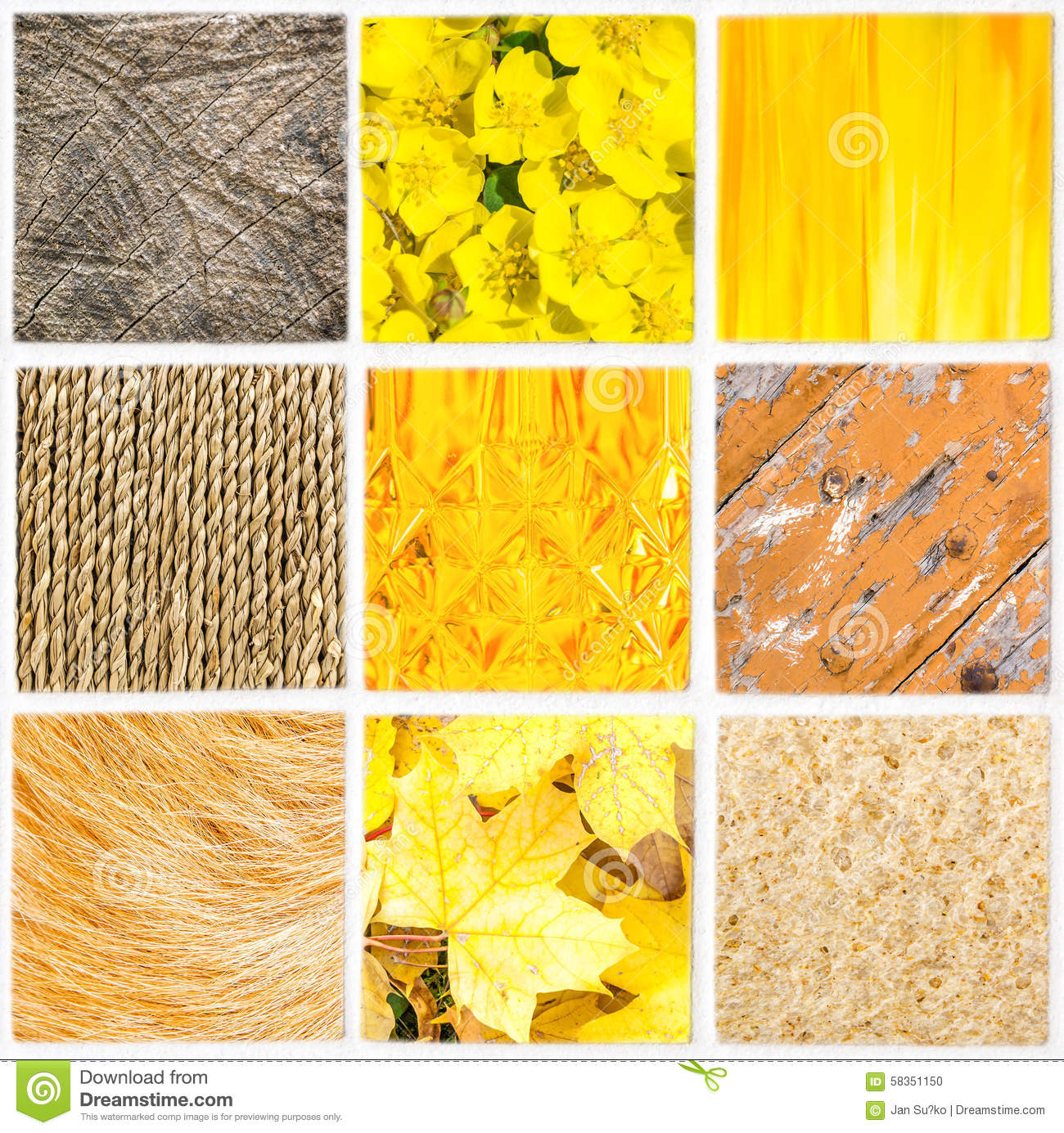 mosaic of orange color shades in different style stock photo