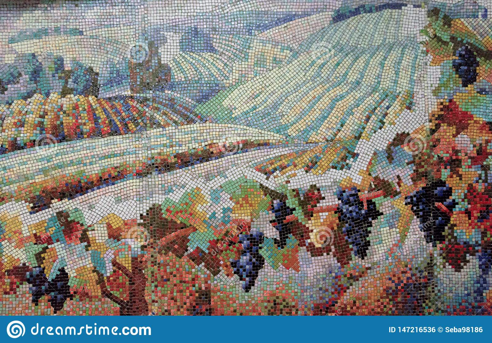 Mosaic painting of a field with vines