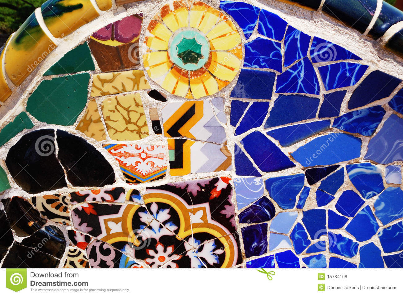 Mosaic Patterns Parc Guell Barcelona Royalty Free Stock