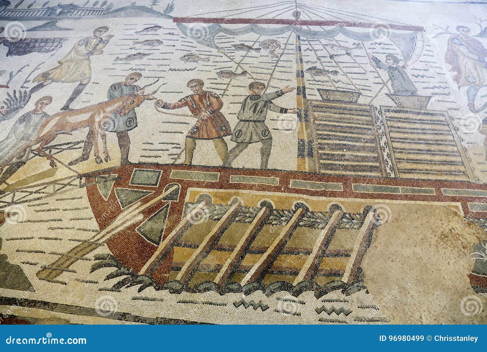 Mosaic at roman villa in sicily