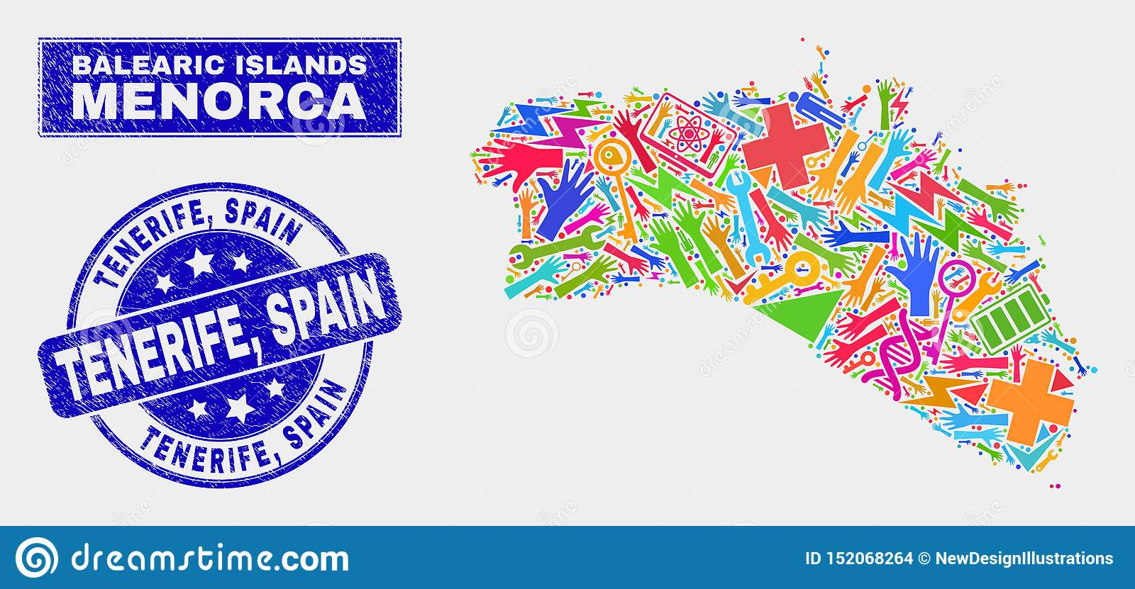 Map Of Spain Tenerife.Mosaic Service Menorca Island Map And Grunge Tenerife Spain Stamp