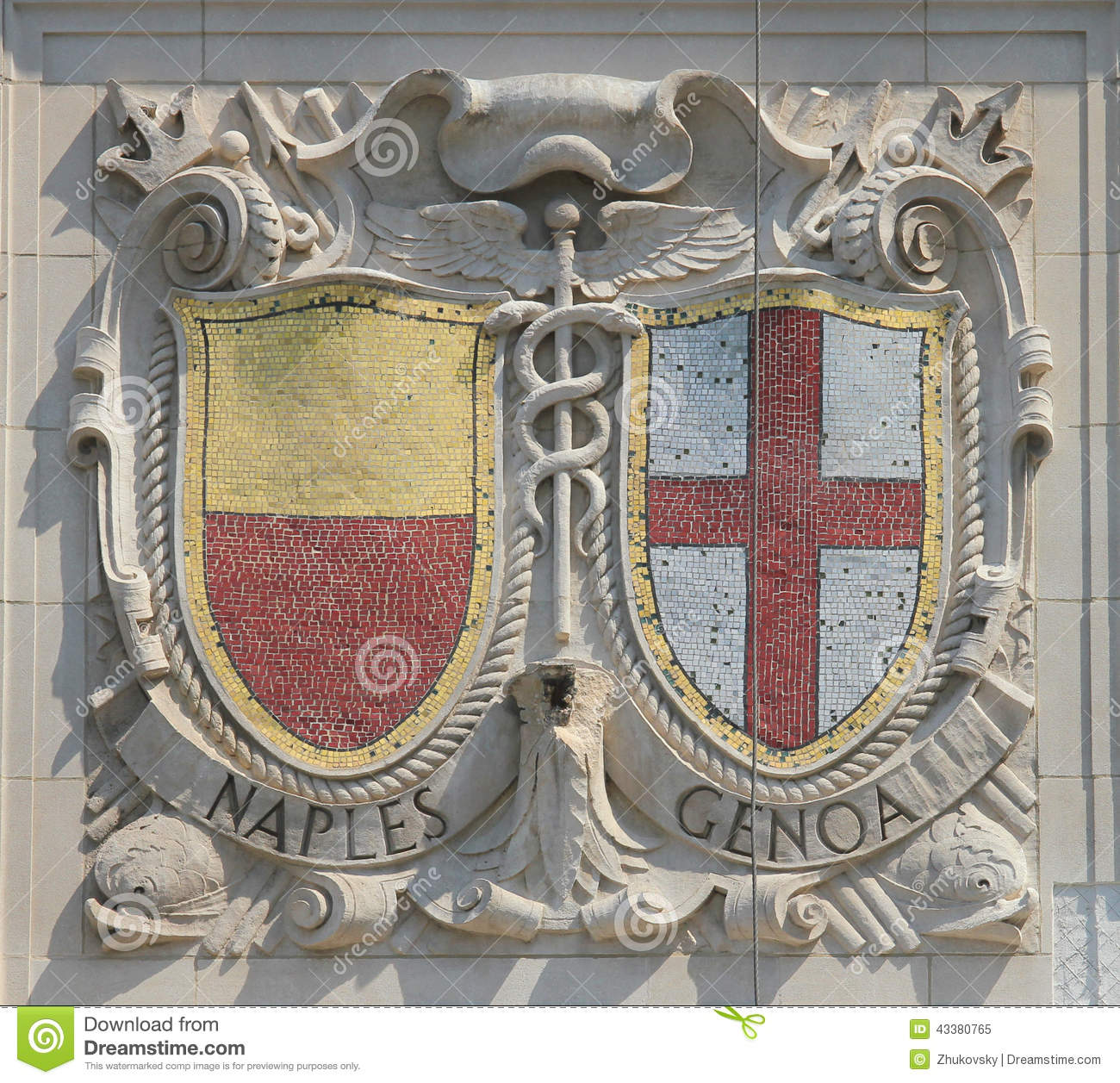 Mosaic shields of renowned port cities Naples and Genoa at the facade of United States Lines-Panama Pacific Lines Building