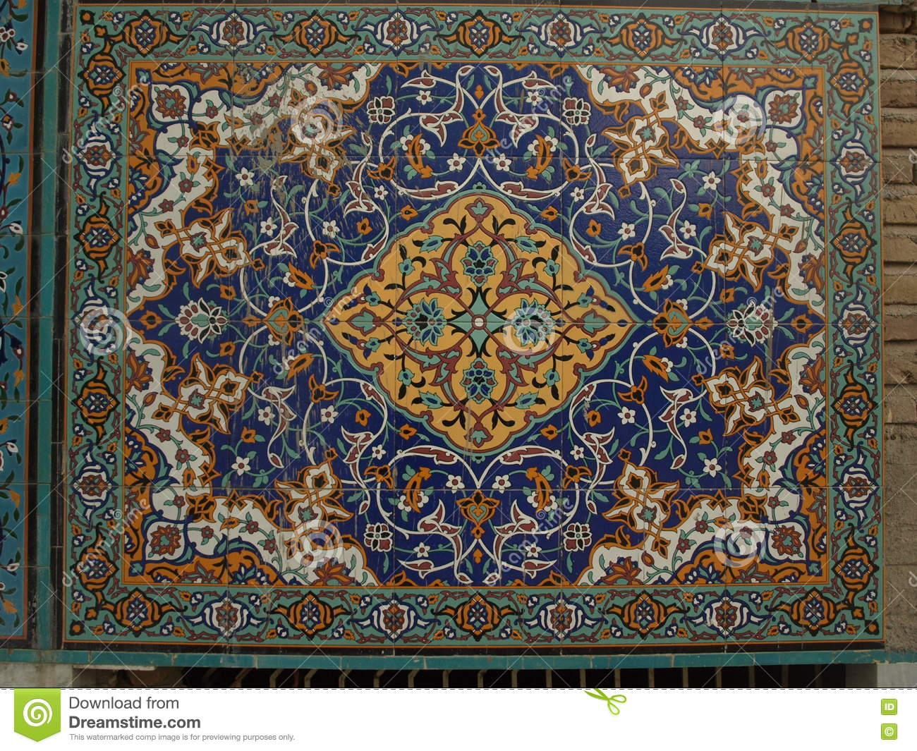 Mosaic In Shrine Of Hazrat Ali, Mazar-i-Sharif  Stock Photo - Image