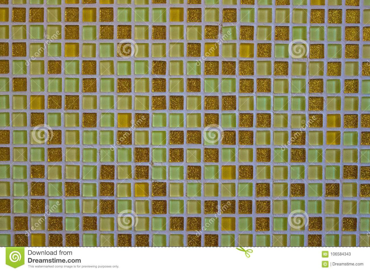 Mosaic of small square tiles.