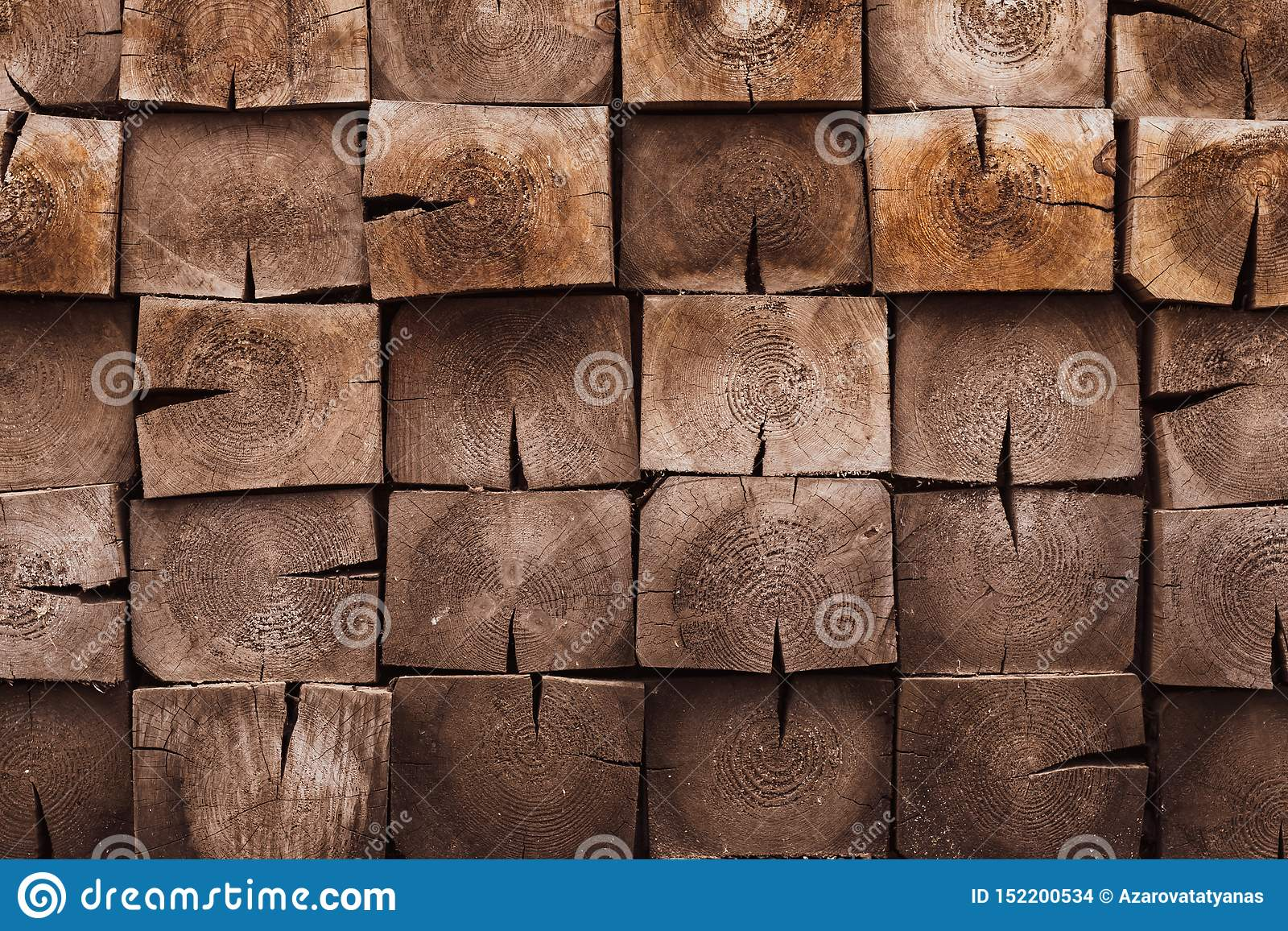 Mosaic of square bars, wooden planks. Brown slat, planch, bred wall. Vintage rustic close-up wood texture. Modern geometric patter