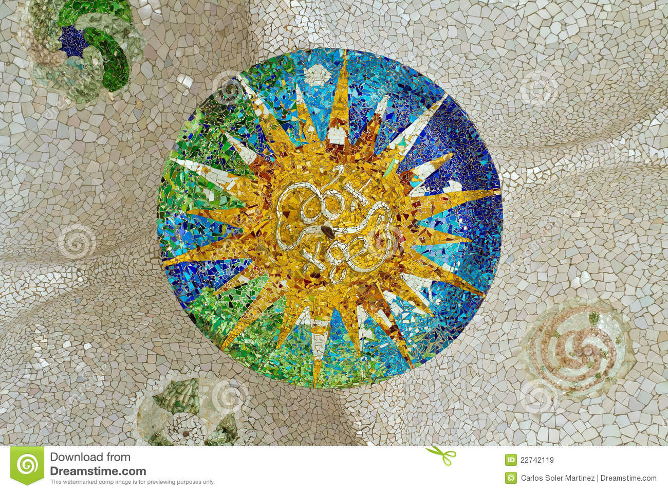 mosaic sun at guell park stock image image of catalunya 22742119. Black Bedroom Furniture Sets. Home Design Ideas