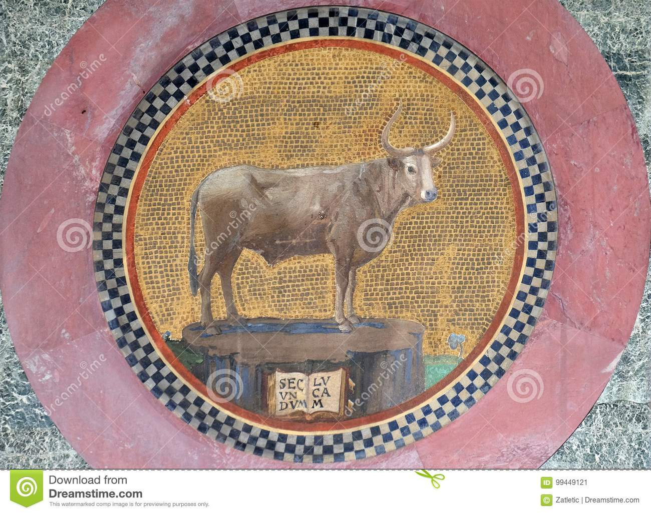 Mosaic With The Symbol Of St Luke The Evangelist Stock Image