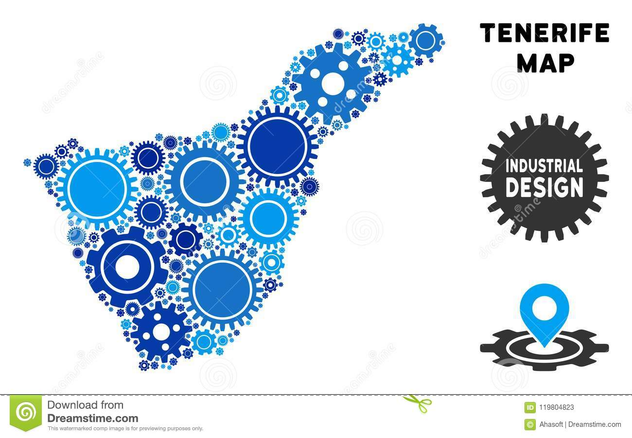 Map Of Spain Tenerife.Mosaic Tenerife Spain Island Map Of Gears Stock Vector