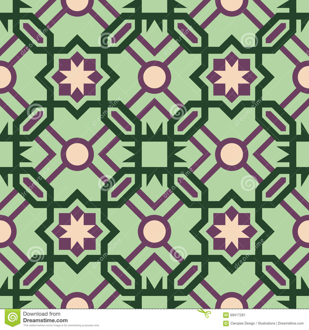 Vector of moroccan tile seamless pattern tile for design tile - Royalty Free Vector Abstract Ceramic Color Floor Geometric Green Moroccan Mosaic Pattern Seamless Tile Vector