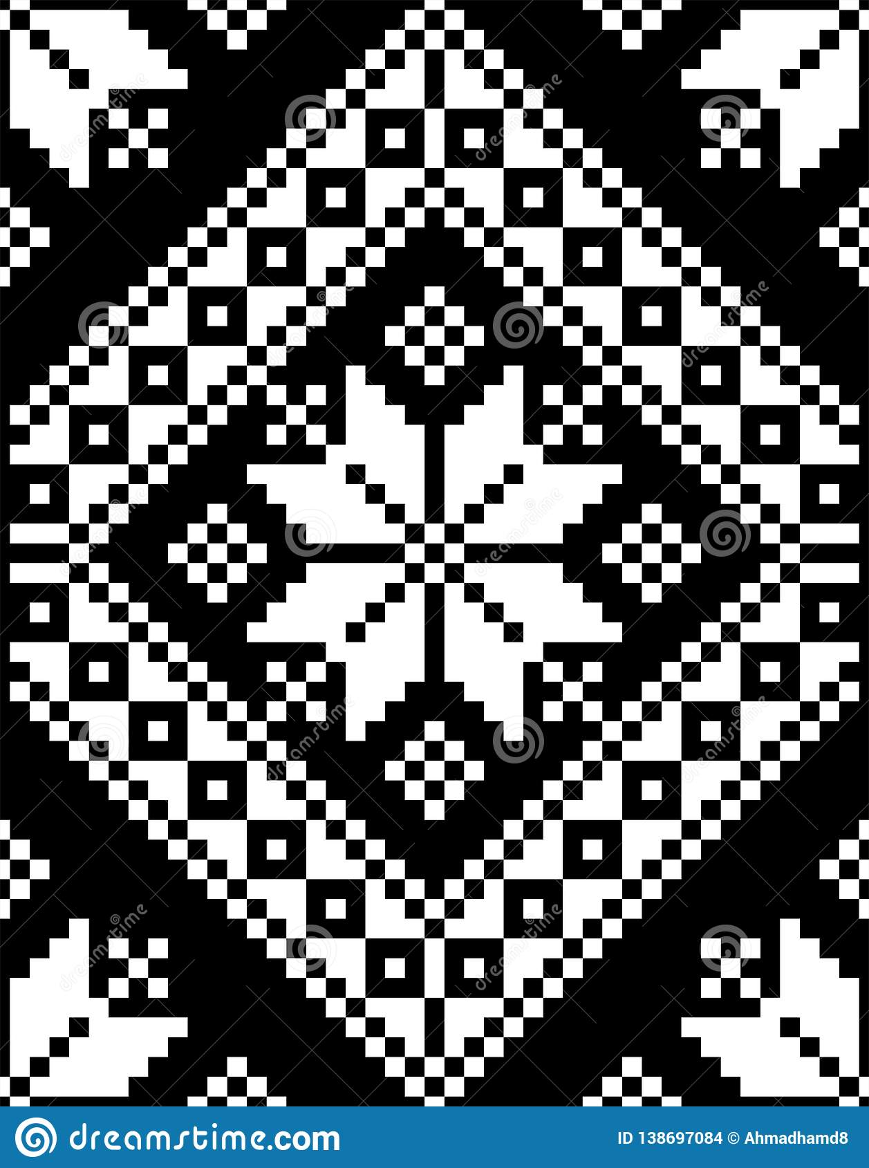 Mosaic motif embroidery texture vector illustration