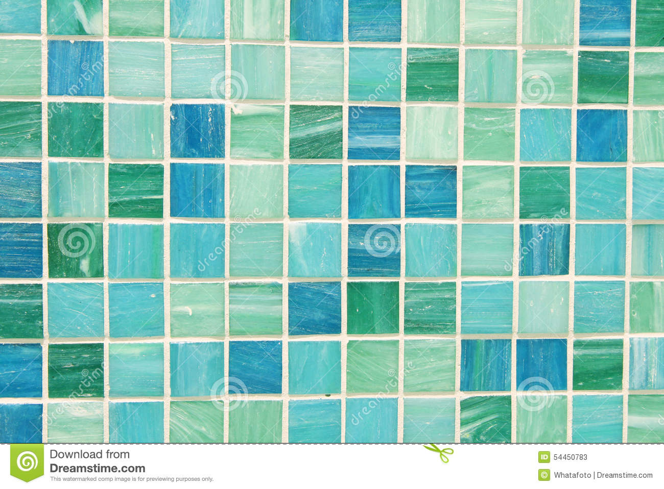 Mosaic Tiles In Green Turquoise Blue Stock Photo Image