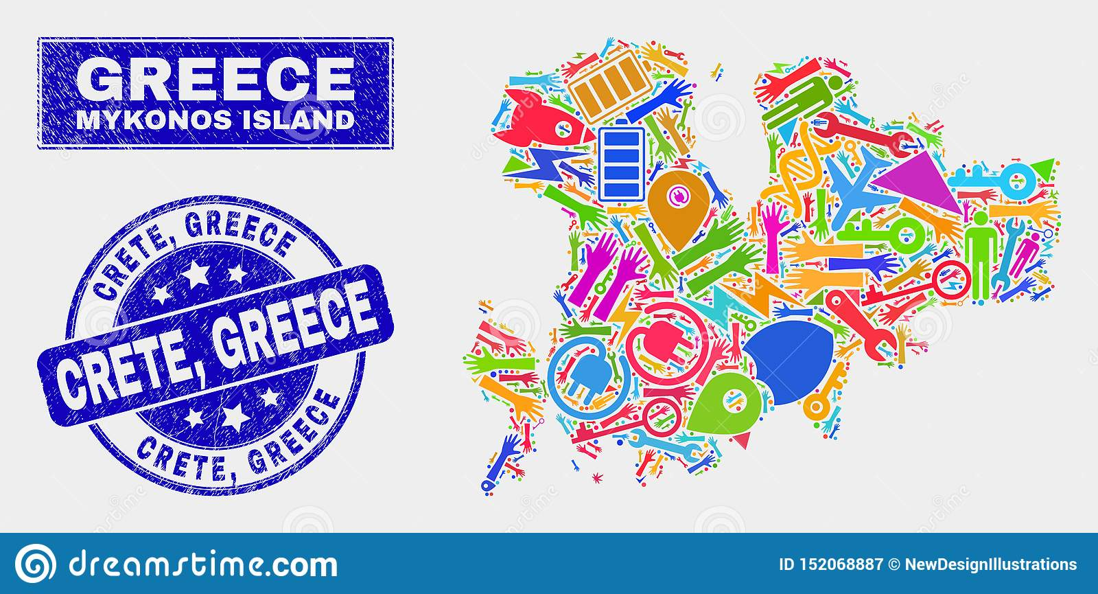 Collage Technology Mykonos Island Map And Scratched Crete
