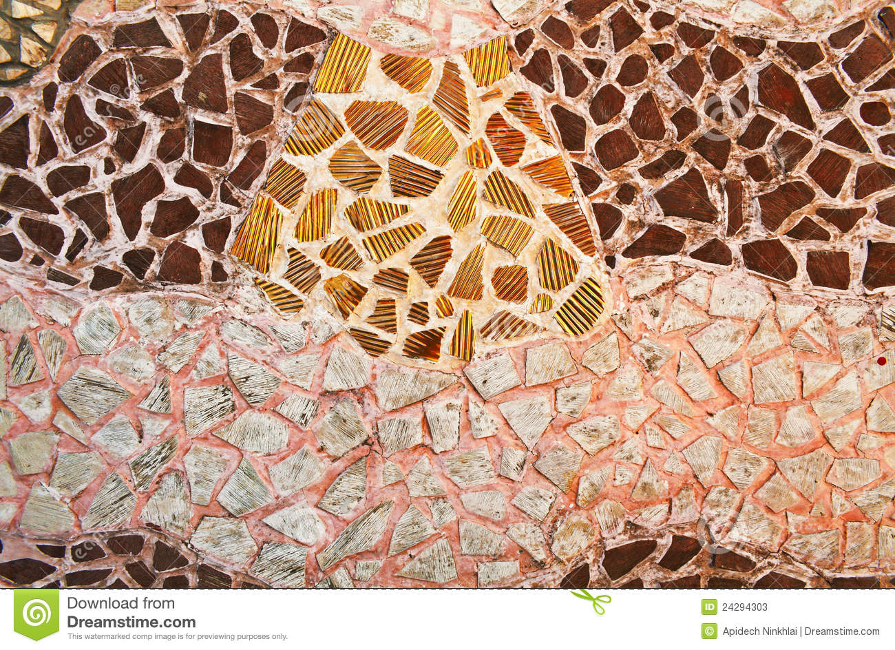 Mosaic Wall From Broken Ceramic Tiles Stock Photos Image