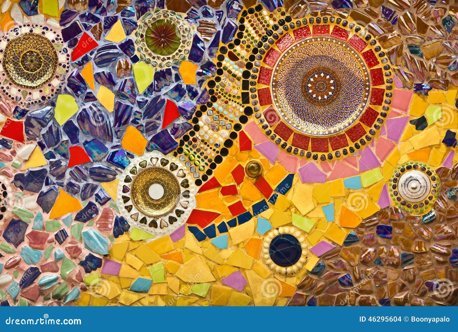 Mosaic Wall Decorative Ornament From Ceramic Broken Tile Stock Photo ...