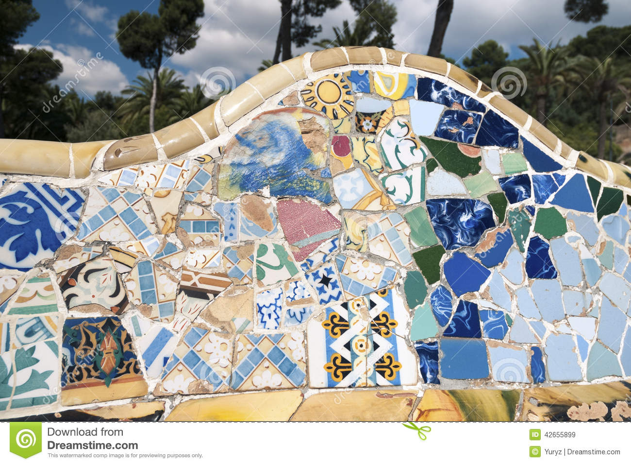 Mosaic Wall Stock Image Image Of Fragment Yellow Blue