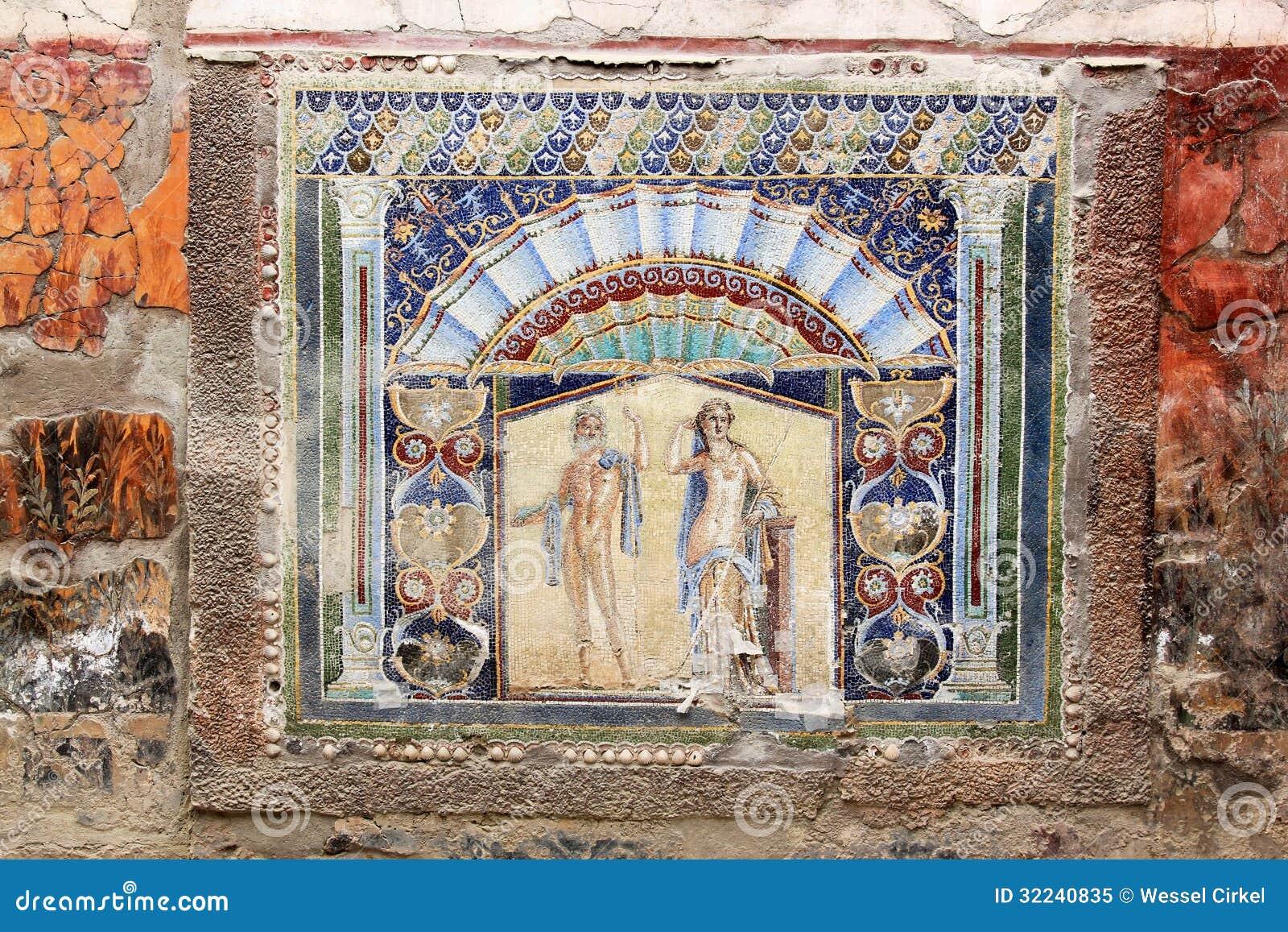 Mosaico antico in Roman Herculaneum, Italia