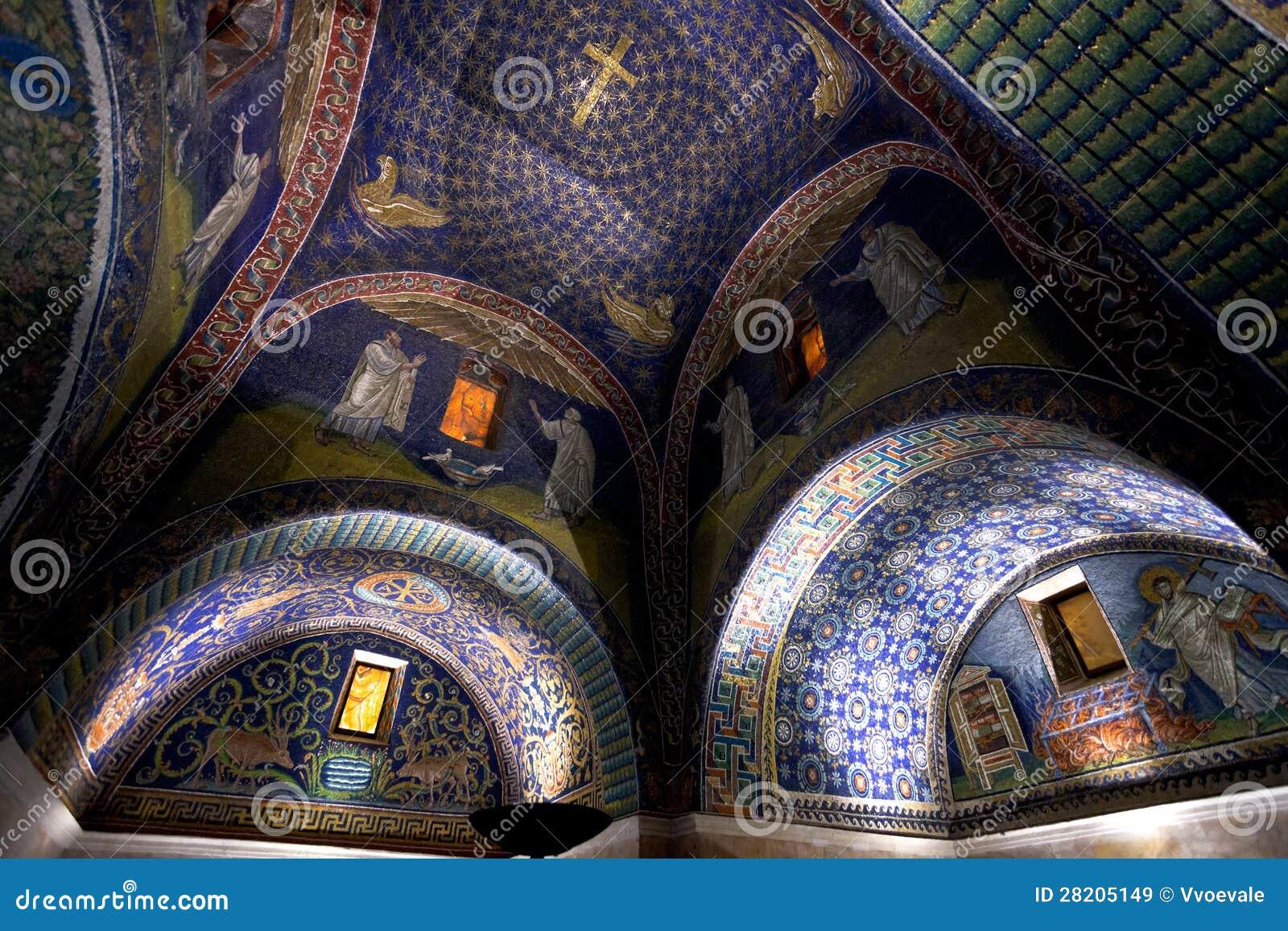 Mosaico Blu Scuro Del Mausoleo Di Placidia Di Galla In Ravenn Immagini Stock Libere da Diritti ...