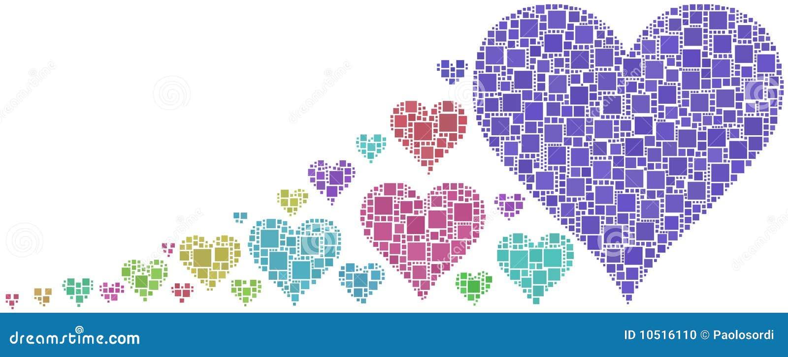 Mosaico Coloreado De Corazones Ilustración del Vector - Ilustración ...