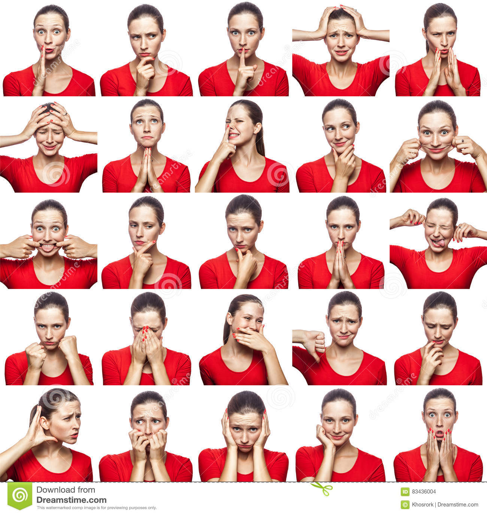 Mosaico da mulher com as sardas que expressam expressões diferentes das emoções A mulher com o t-shirt vermelho com 16 emoções di