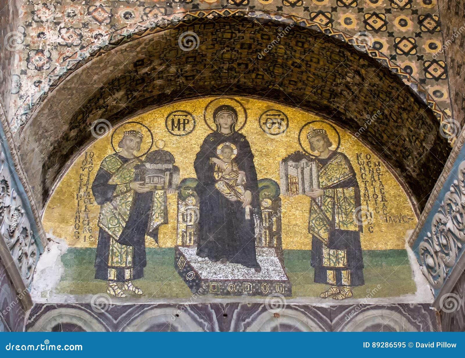 Mosaico da Virgem Maria que guarda Jesus dentro do Hagia Sophia