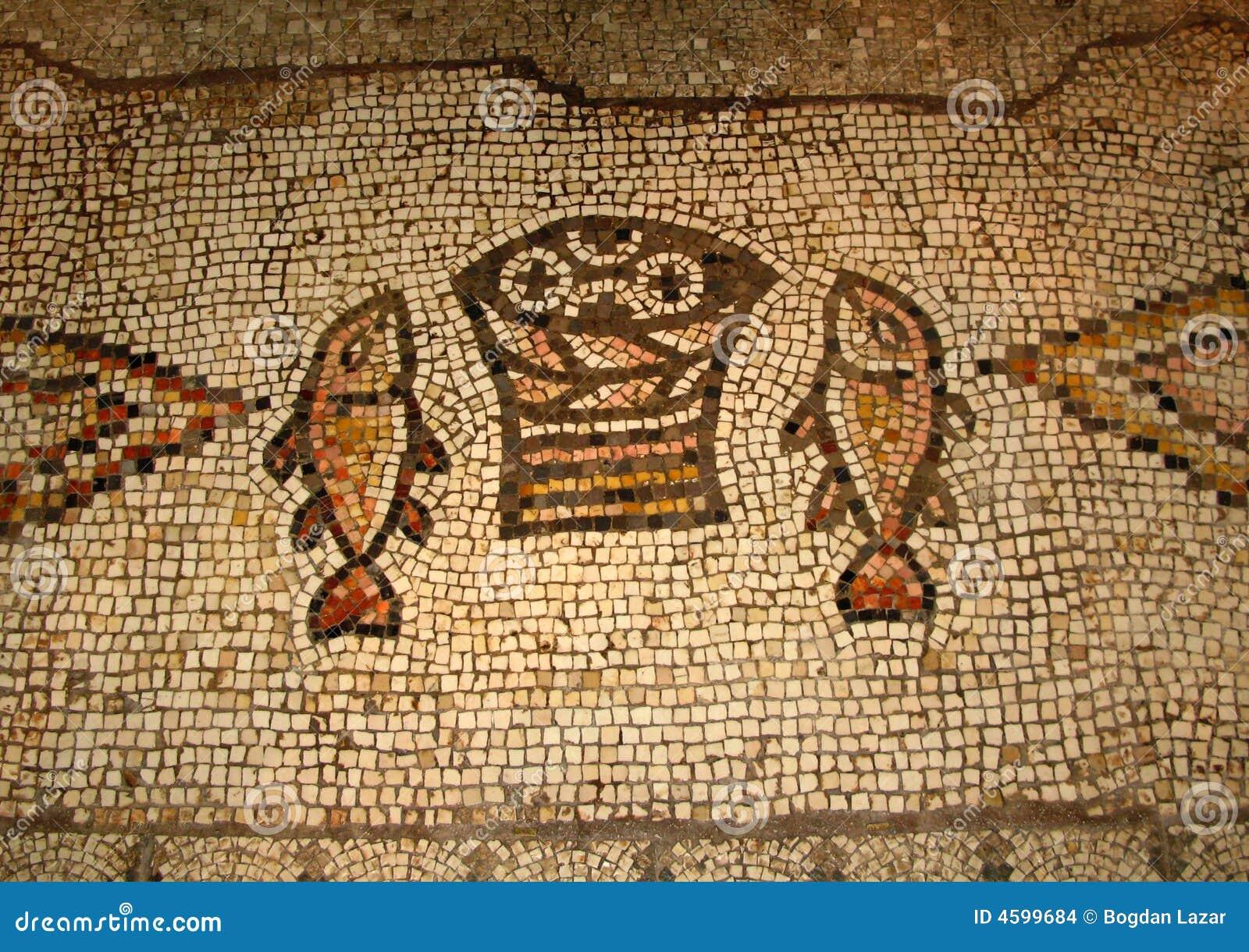 Mosaico De La Multiplicación, Tabgha, Israel Foto de archivo - Imagen de  israel, suelo: 4599684