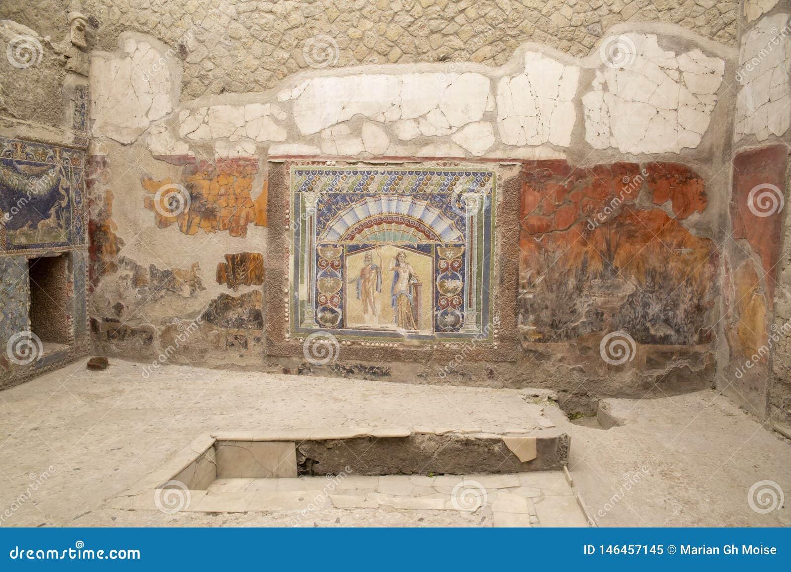 Mosaico de Netuno e de Amphitrite, casa do mosaico de Netuno, Herculaneum