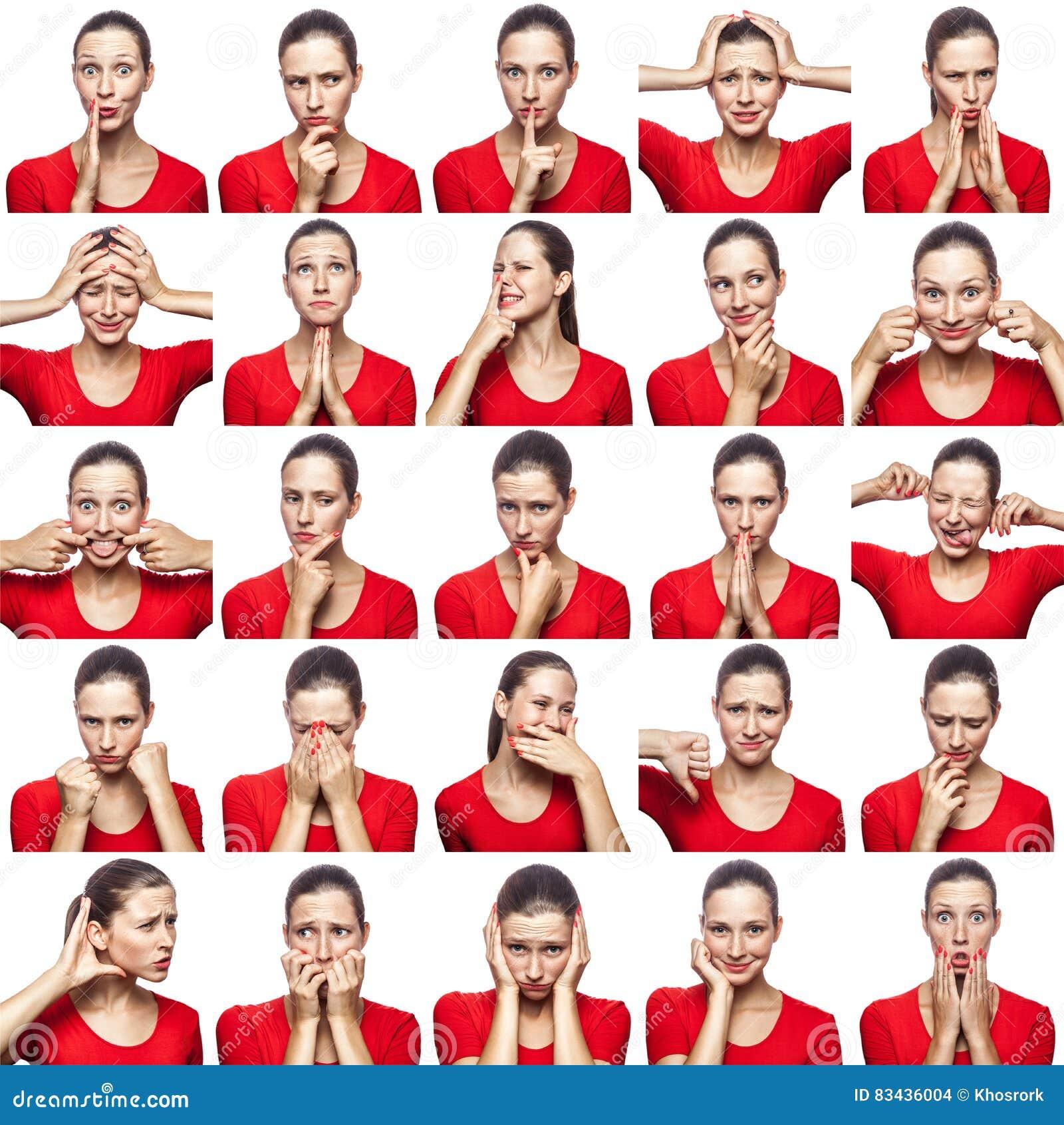 Mosaico della donna con le lentiggini che esprimono le espressioni differenti di emozioni La donna con la maglietta rossa con 16