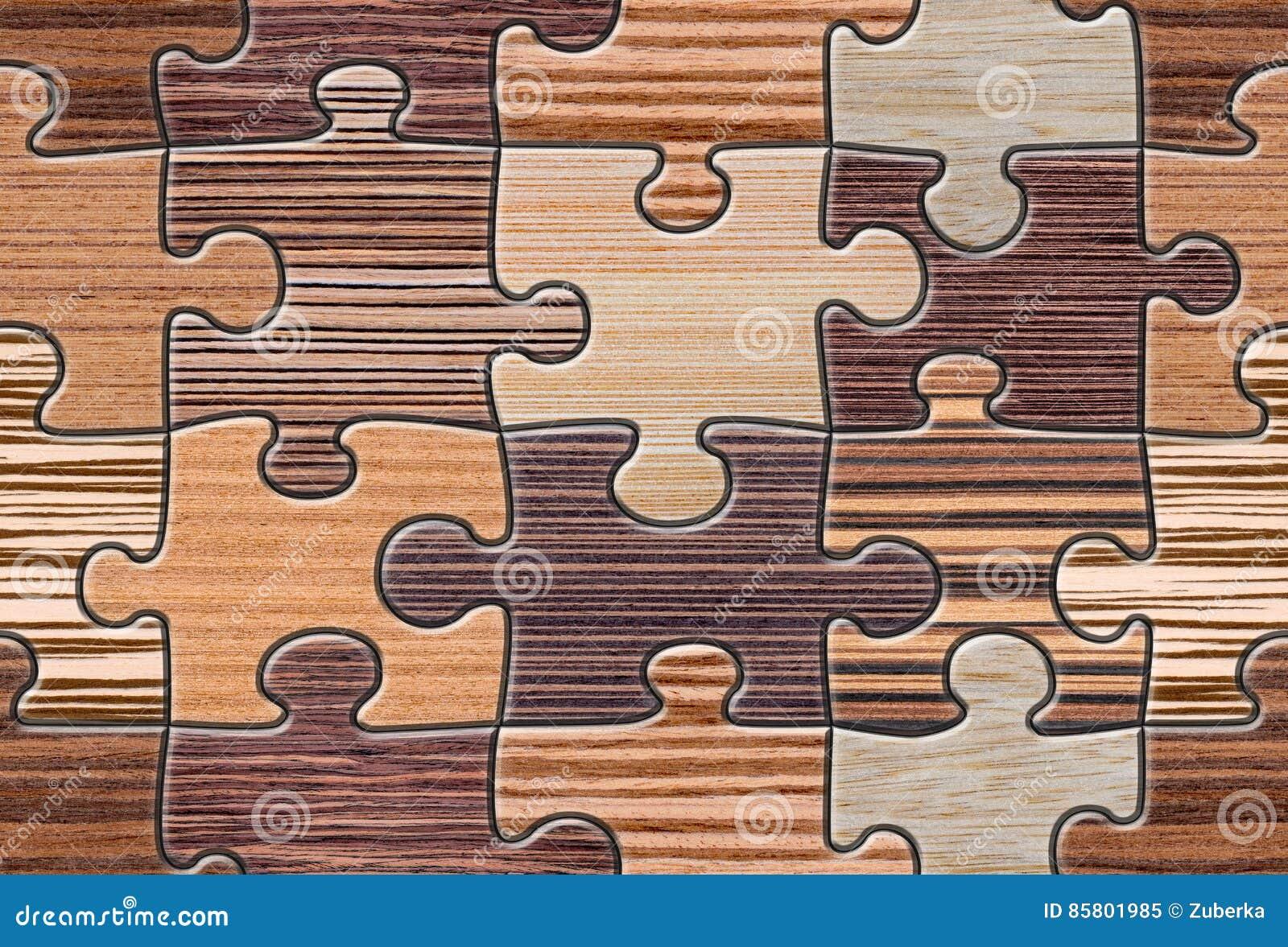 Mosaico Di Legno Di Puzzle Di Brown Senza Cuciture Immagine Stock ...