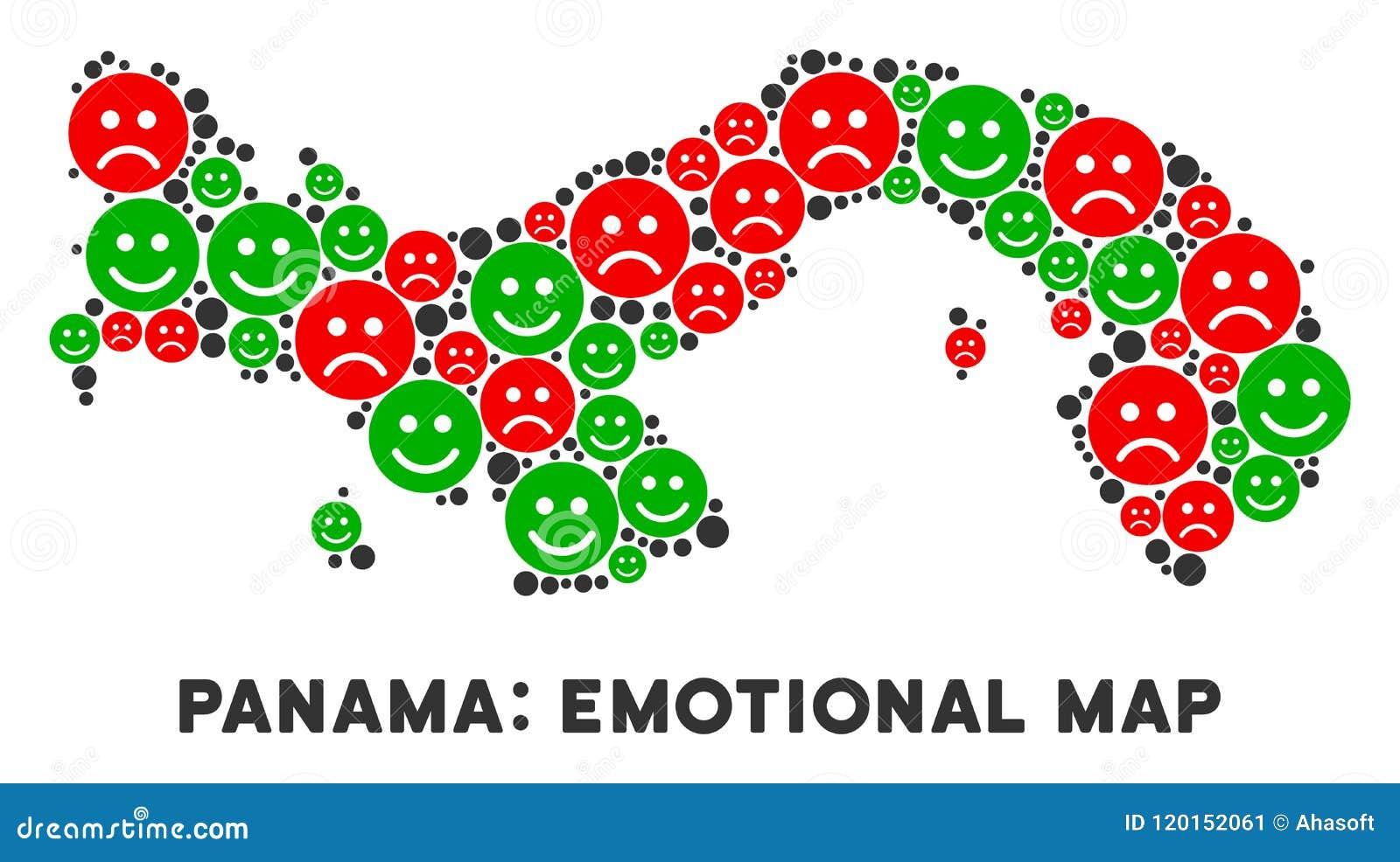Mosaico emocional del mapa de Panamá del vector de smiley