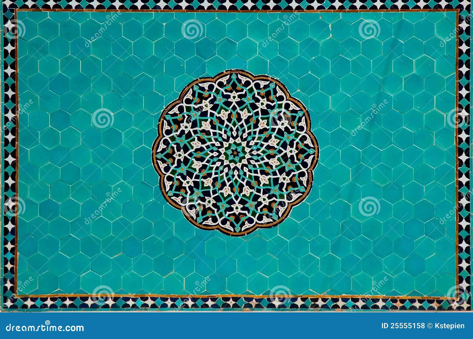 Mosaico islámico con los azulejos azules