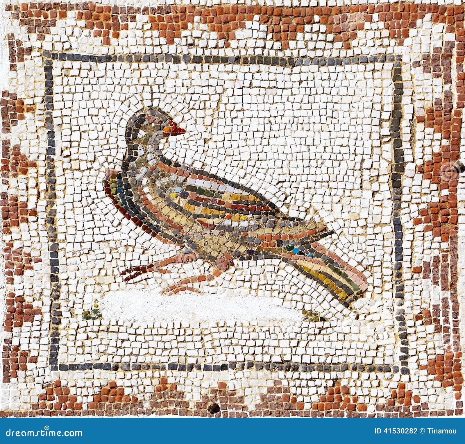 Mosaico Romano Antico Che Rappresenta Una Colomba Sevilla