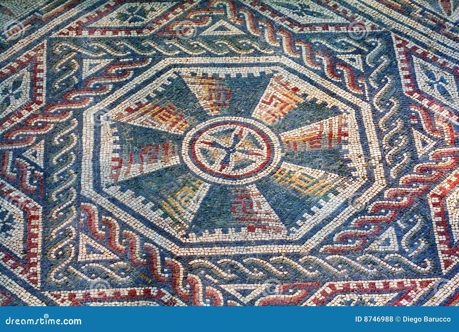 Mosaico romano del chalet sicilia foto de archivo for Mosaico romano