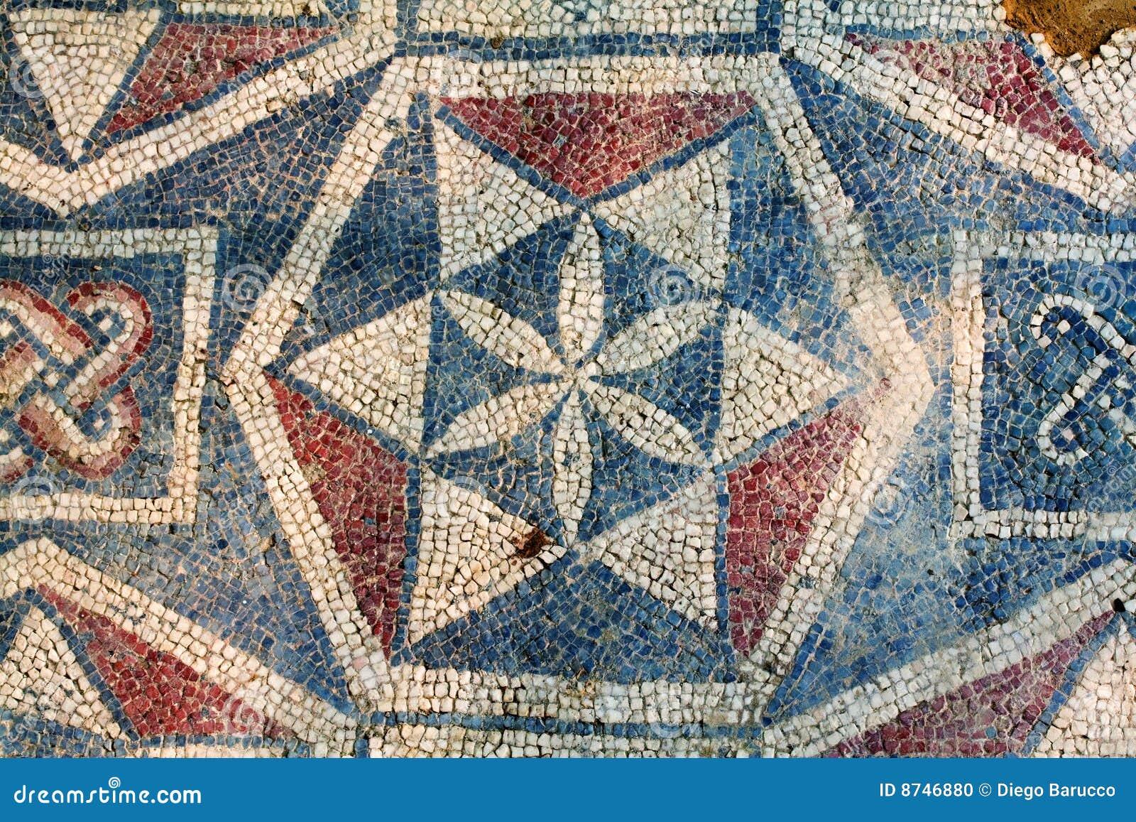 Mosaico romano della villa sicilia fotografia stock for Mosaico romano