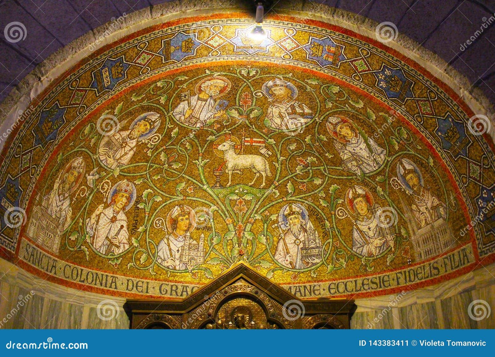 Mosaik abbotskloster av Dormitionen av den Dormition abbotskloster, gammal stad, Mount Zion, Jerusalem