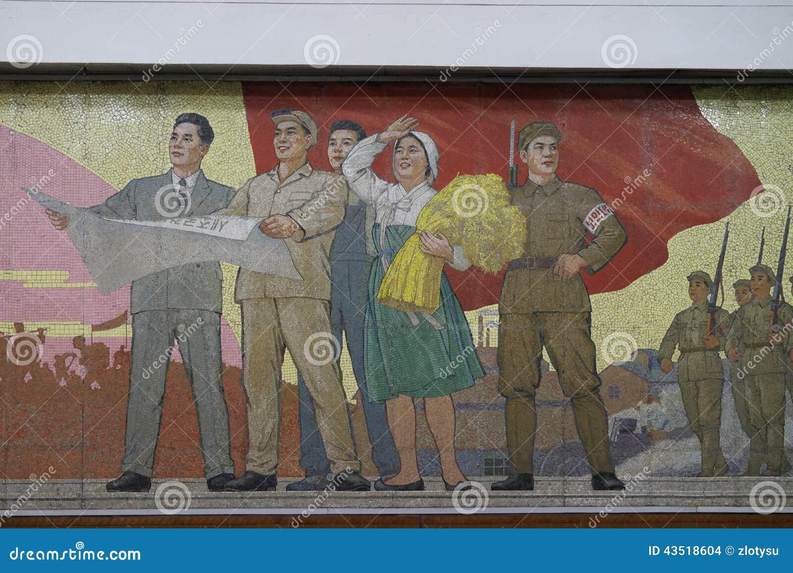 Mosaik av den Kaeson stationen, Pyongyang tunnelbana