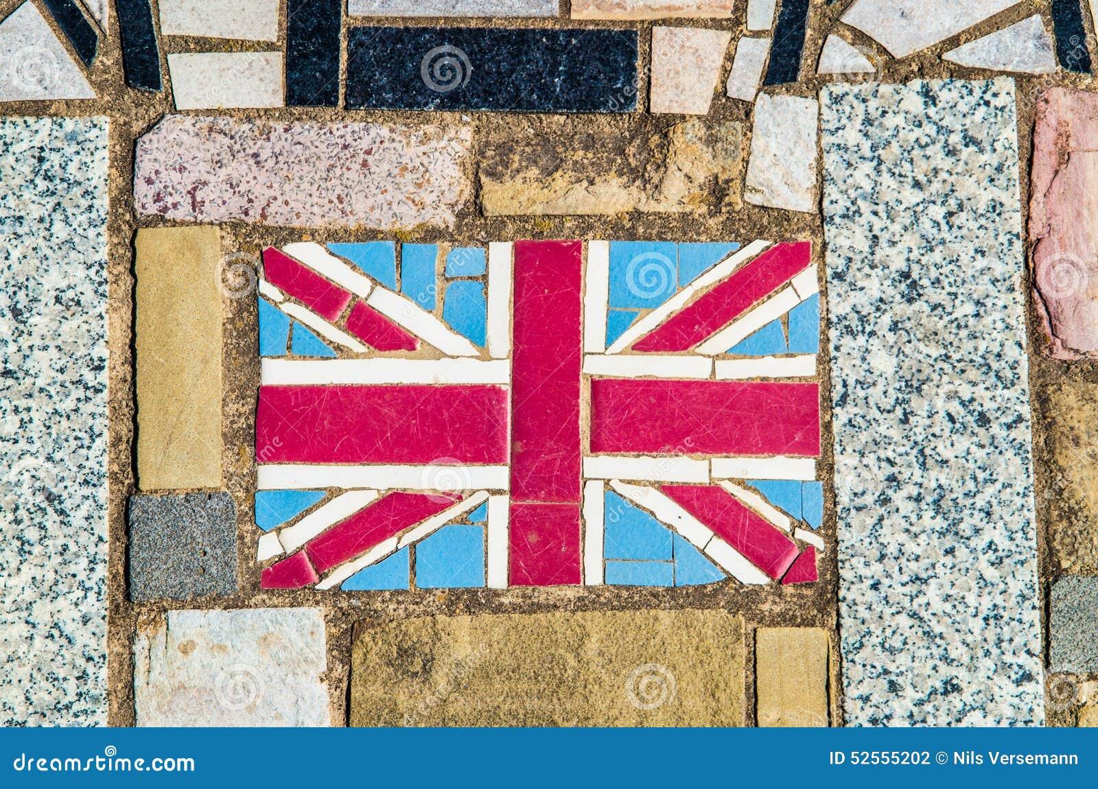 Mosaik av Union Jack, nationsflaggan av Förenade kungariket