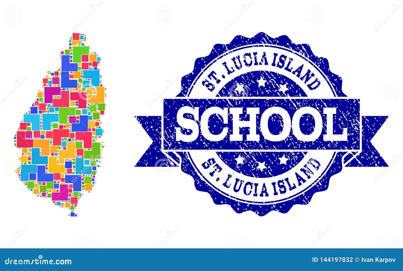 Mosaik-Karte des Heiligen Lucia Island und der strukturierten Schulstempel-Zusammensetzung