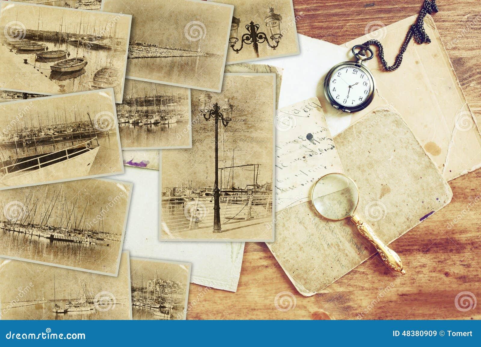 Mosaik Med Gamla Bilder Av Mycket Marina Med Yachter Collage Med Fotoet För  Retro Effekt Och För Gammal Stil Nautiskt Begrepp