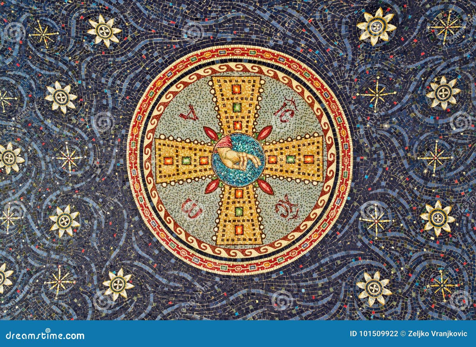 Mosaik på försegling av klosteringången, Serbien
