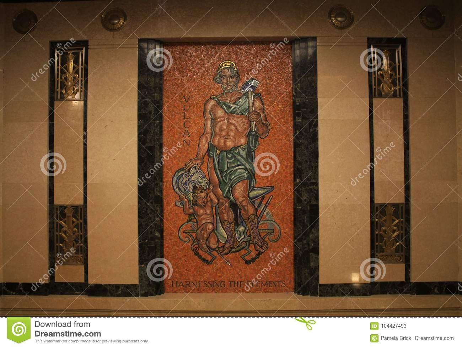Mosaik von Vulcan, Aufzugslobby, Ohio-Gerichtsmitte, Oberstes Gericht von Ohio, Columbus Ohio