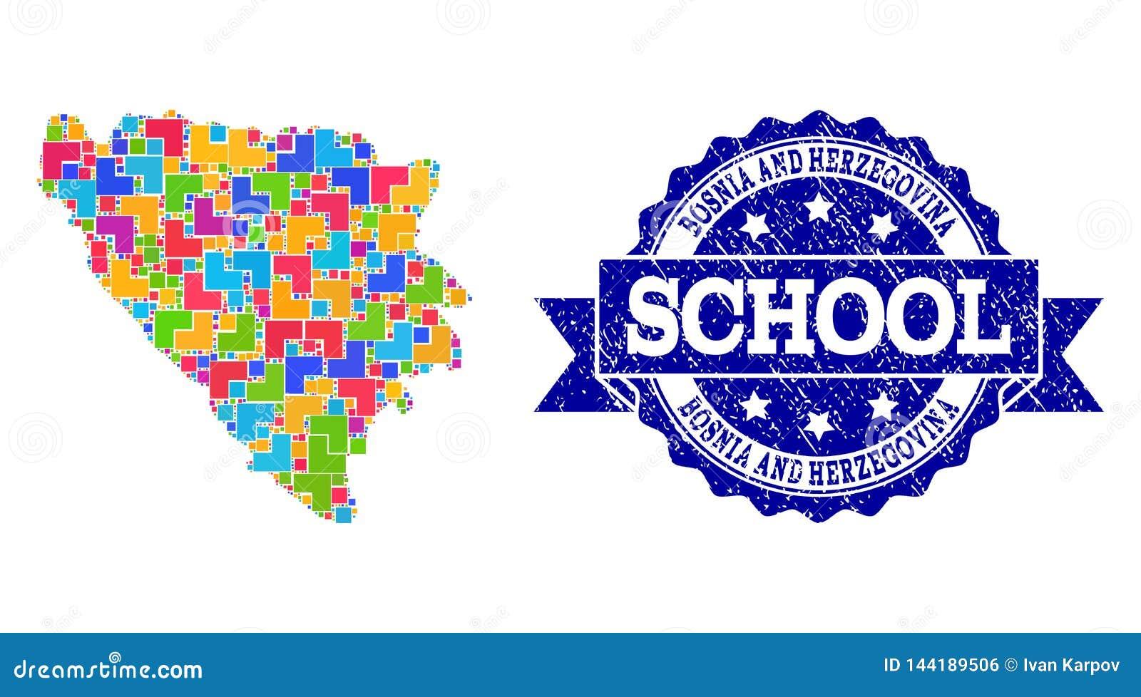 Mosaisk översikt av Bosnien och Hercegovina och texturerad skolaskyddsremsasammansättning